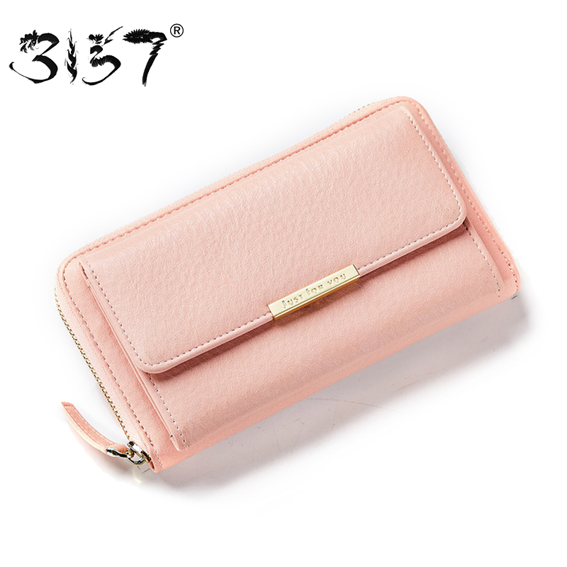 3157 Casual Women Leather Wallet Crossbody Fashion Bags Girls Purse Multiple Cards Holder Phone Pocket Female Standard Wallets