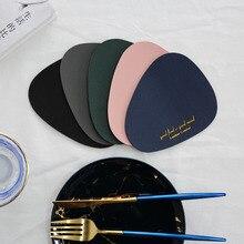 Креативные подставки из искусственной кожи, овальные подставки с буквенным принтом для обеденного стола, водонепроницаемые теплоизоляционные Нескользящие подставки для чаши 13x11 см