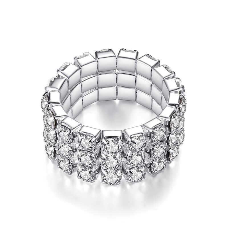 Hot 2018 Korean Silver Color Elastic Zircon One row Multiple rows Rings for women rhinestones elastic rings gifts