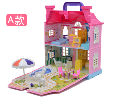 Kid's Villa House Dollhouses Toys Happy Family Theme Princess Room Toy Suit Furniture Kits Girl Child Doll Gift Unisex Plastic