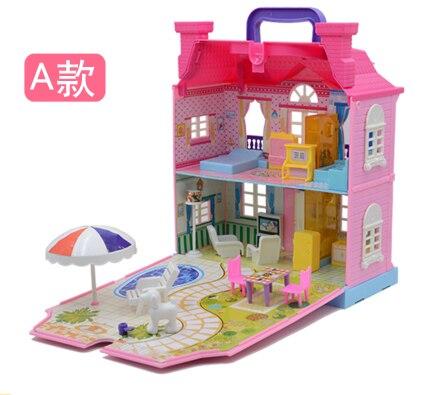 Villa enfant maison maisons de poupée jouets heureux thème de la famille princesse chambre jouet costume meubles Kits fille enfant poupée cadeau unisexe en plastique
