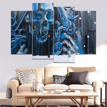 Street Wall Graffiti Artistic Blue Skull Painting 4 Piece Style Picture Canvas Print Type Home Decorative Artwork Poster