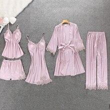 VVUES Women Pajamas 5 Pieces Satin Sleepwear Pijama Silk Home Wear Home Clothing Embroidery