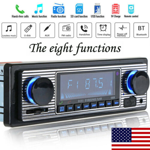 US Vintage Car Bluetooth Radio MP3 Player SD Card Stereo USB AUX Classic Stereo Audio FM Hand-free Calls FM Radio