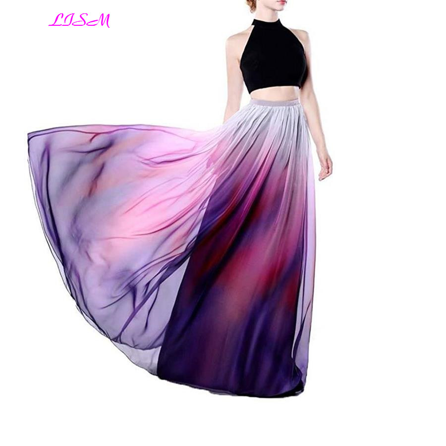 Gradient Color Crop Top Chiffon   Bridesmaid     Dress   A-Line High Neck Two Pieces Wedding Party   Dresses   Long Lilac Prom Party Gowns