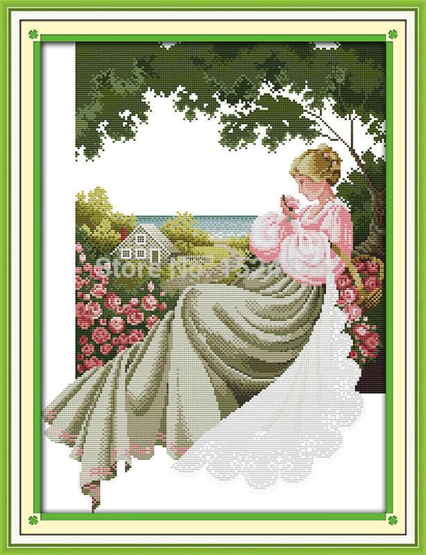 Ogród różany piękna dziewczyna malarstwo Decor obraz olejny drukowane na płótnie DMC 11CT 14CT Cross Stitch zestawy zestawy robótki haft
