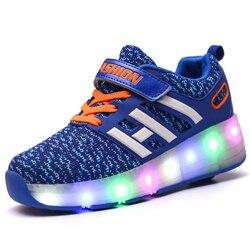 LED Children Wheel Shoes Kids Light Shoes Fashion Breathable Boys & Girls Kids Flash led Roller Sneakers Size 29-40