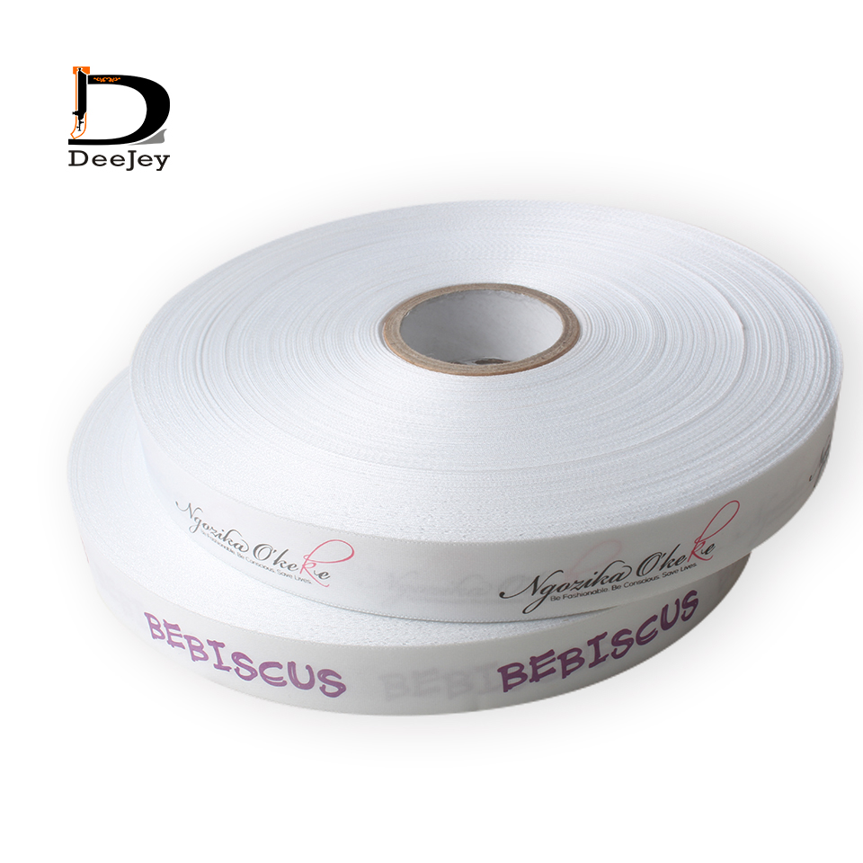 Custom ribbon logo printed pack decoration brand logo polyester gift ribbons 100yards lot