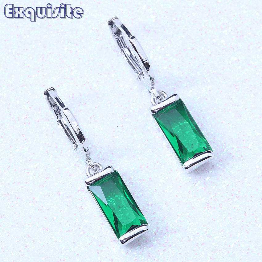 Classic Drop Dangle Earrings Green/Purple/Red Cubic Zirconia Silver Color Crystal Jewelry