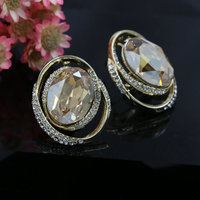 Gold Plated High Quality Oval Austrian Crystal Large Clip On Earrings For Women Engagement Party Gifts