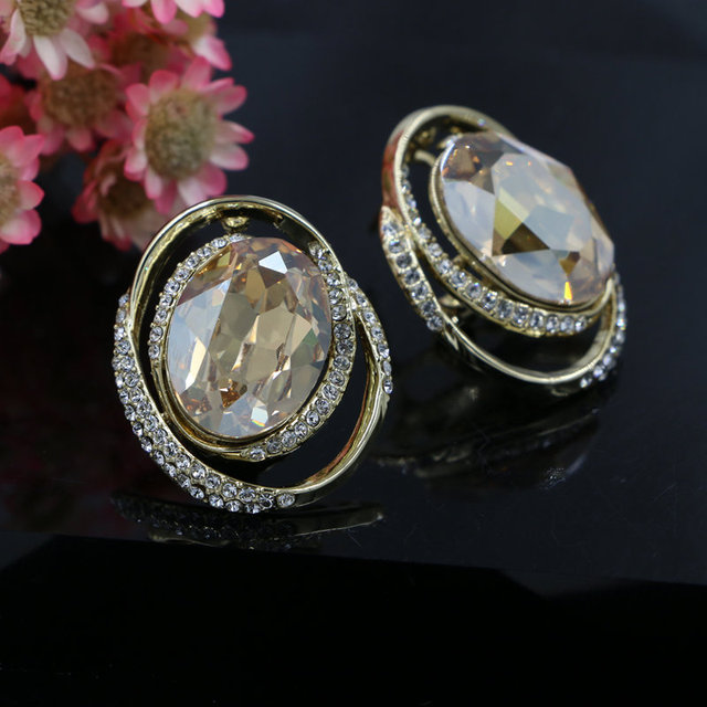 Gold Color Plated High Quality Oval Austrian Crystal Large Clip On Earrings For Women Engagement Party