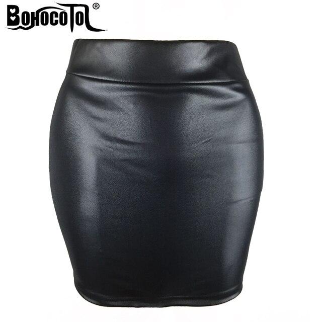 2e754085628 BOHOCOTOL Sexy Black Short Skirt Women High waist faux leather Pencil Mini  Skirt Ladies Vintage Retro