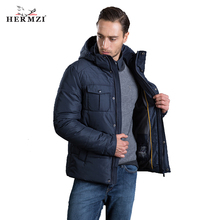 HERMZI 2019 High Quality Winter Jackets Men Fashion Autumn Jacket Coat Detachable Hood European Size Navy Blue Free Shipping