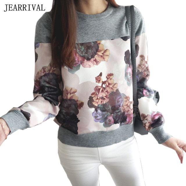 2017 New Spring Fashion Women Sweater Elegant Flower Print O-Neck Patchwork Pullover Slim Fit Casual Tops Knitted Jumper Tops