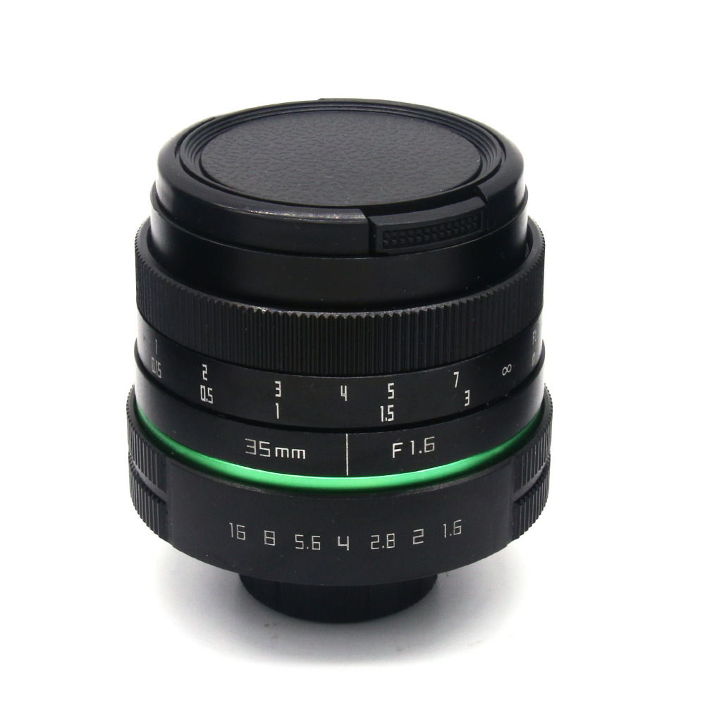 ФОТО 35mm f1.7 new green circle Large Aperture Manual Focus camera  lens APS-C For Sony E Mount cameras NEX7 a6300