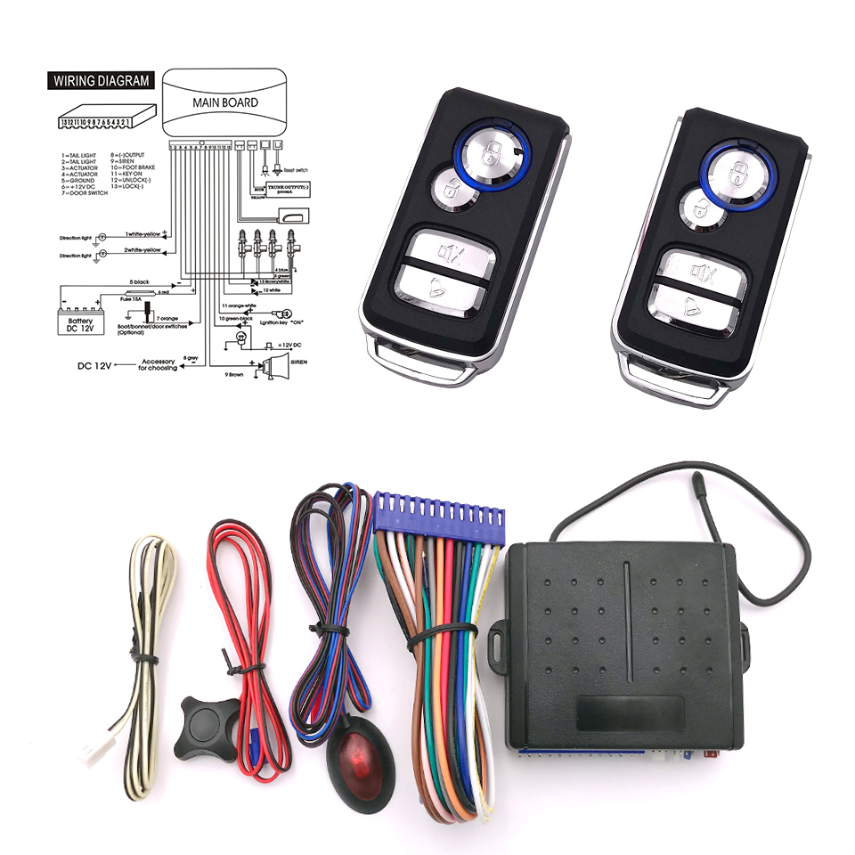 13p Car Alarm System Auto Remote Central Kit Door Lock Locking Wiring Diagram With Control Trigger Open Close In Burglar From