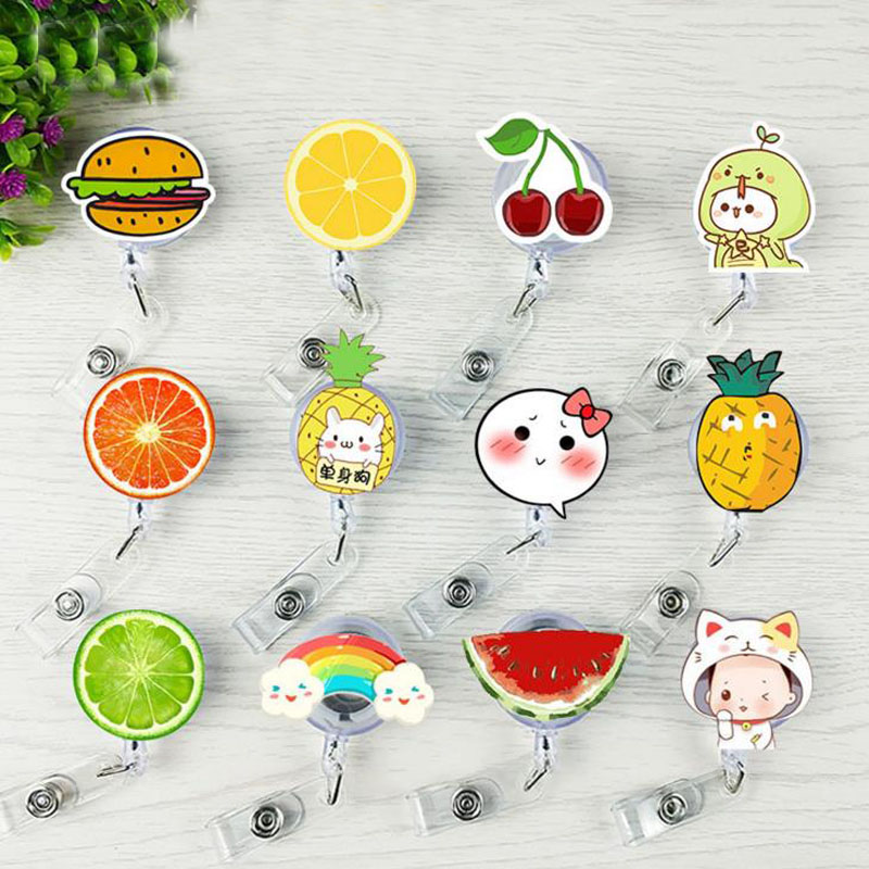 1 Pcs Kawaii Lovely Fruit Pineapple Badge Reel Bus Card Student Nurse ID Name Card New Badge Holder Retractable Reel Stationery