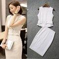 Nova verão 2016 de duas peças roupa sul coreano mulheres ol moda tarja saias + cintura fina sem mangas pequeno vestuário superior sem forro