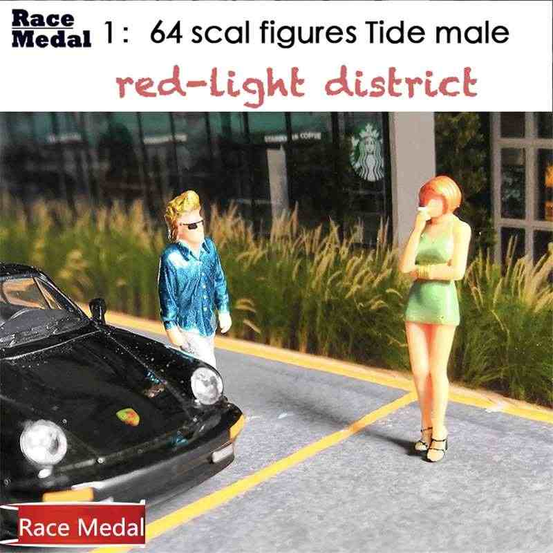 6 Gaya 1: 64 Adegan Tide-Pria Merokok Gadis Model Skenario Set untuk Kotak Korek Api Mainan Anak Group