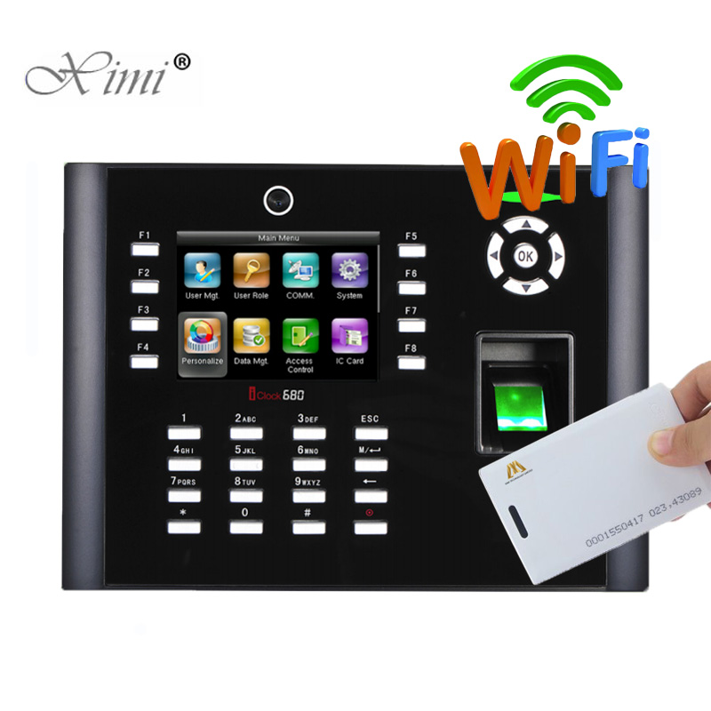 WIFI TCP/IP Biometric Fingerprint And 125KHZ RFID Card Time Attendance With Camera ZK Iclock680 Finerprint Access Control System