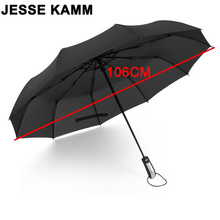 JESSE KAMM New Fully-automatic Three Folding Male Commercial Compact Large Strong Frame Windproof 10Ribs Gentle Black Umbrellas