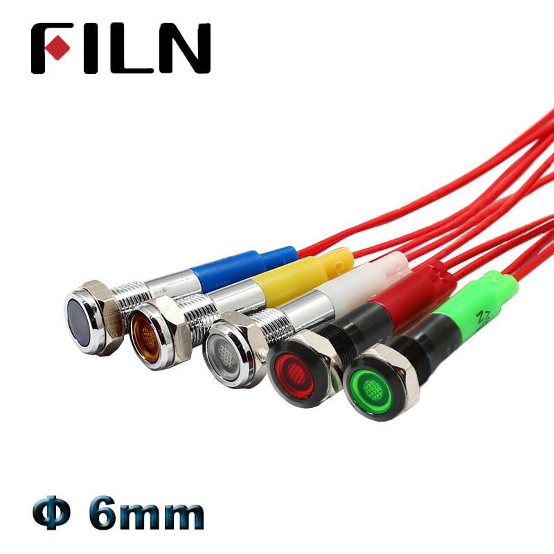 0.236 Inch 6mm Chrome Black Metal Indicator Light Waterproof 24V 12V LED Pilot Lamp Car Signal Lamp Red Green Blue White LED