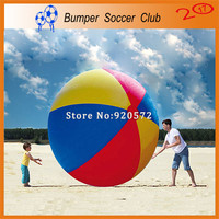 Free shipping! Free pump! 2m outdoor sport games colorful inflatable beach ball giant toy ball for kids
