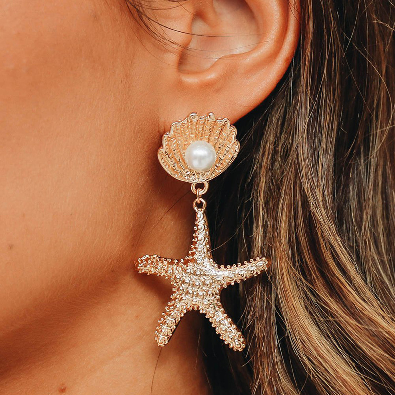 GWACC 2019 NEW Design Natural Ocean Shell Earrings Starfish Drop Earrings For Women Metal Gold Color Big Long Earrings Pearl in Drop Earrings from Jewelry Accessories