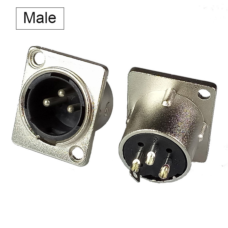 10pcs/lot XLR Connector 3 Pin Male / Female XLR Panel Mount Nickel Plated XLR Male Plug Jack Wire Connector Wholesale