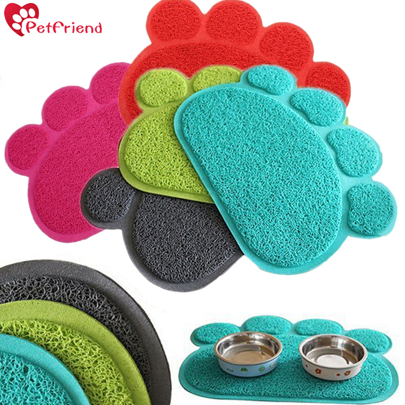 Pet Cat Litter Mat Waterproof PVC Paw Shaped Dog Feeding Mat Pad Pet Dish Bowl Food Water Feed Placemat Puppy Bed Blanket Table