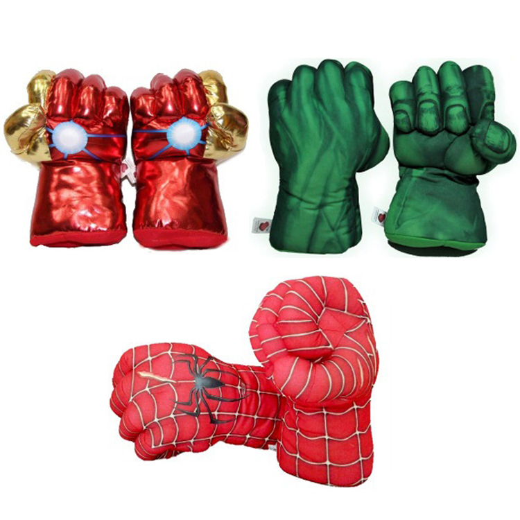 28cm-the-font-b-avengers-b-font-superhero-action-figure-toys-spider-man-hulk-iron-man-soft-plush-boxing-gloves-cosplay-children-boys-gift-toy