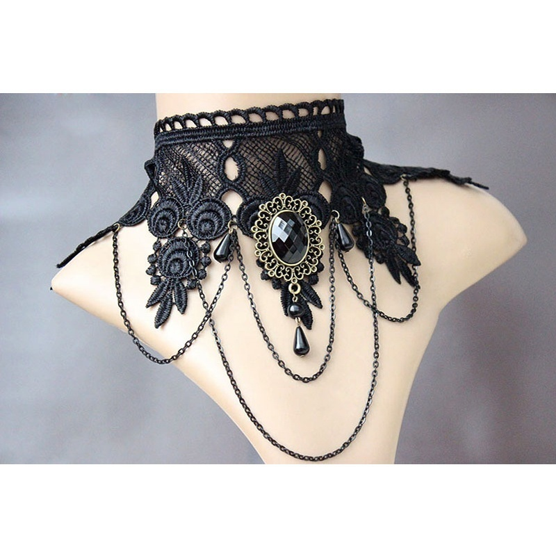 1 Pc Vintage Retro Rose Flower Lace Rhinestone Beads Black Chain Collar