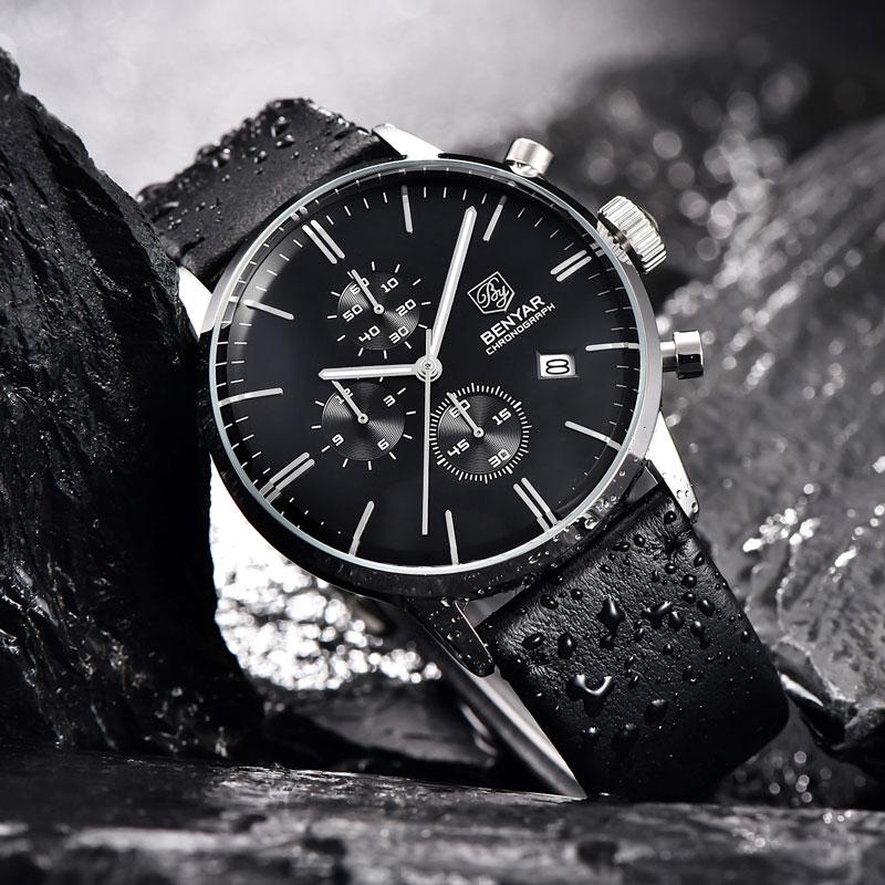 Relojes BENYAR para hombre, relojes de lujo de marca Gold Quartz para hombre, cronógrafo para hombre, reloj de moda de cuero resistente al agua, reloj - 2