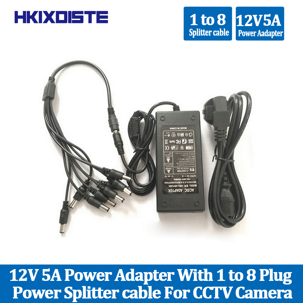 HKIXDISTE Hot Sale 12V 5A 8CH Power Supply CCTV Camera Power Box 8 Port DC+Pigtail COAT DC 12V Power Adapter For Security Camera