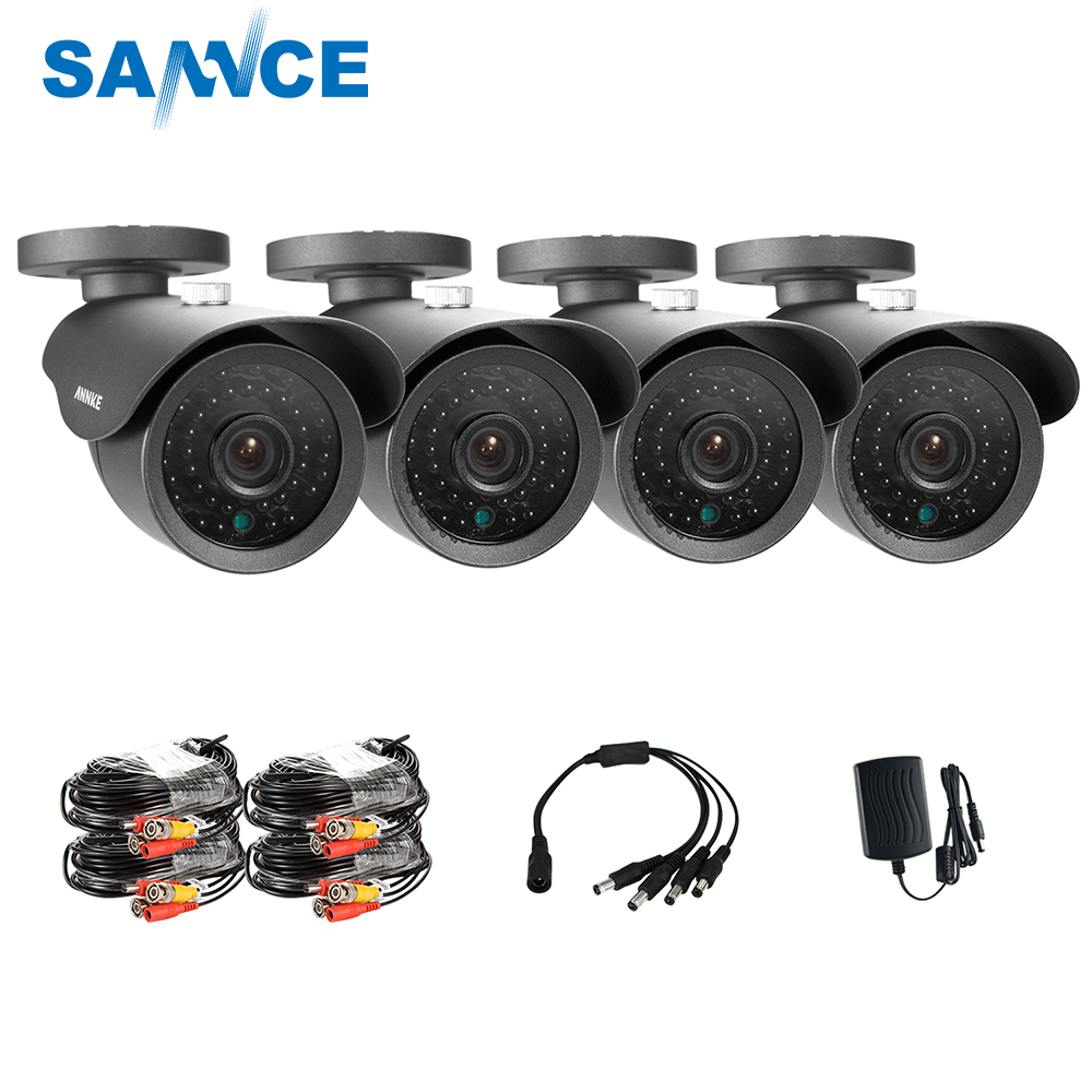SANNCE 4CH 800TVL Bullet CCTV Camera Suite 1.0MP Waterproof IR-Cut Night Vision Camera For Surveillance System Kit 81AA стоимость