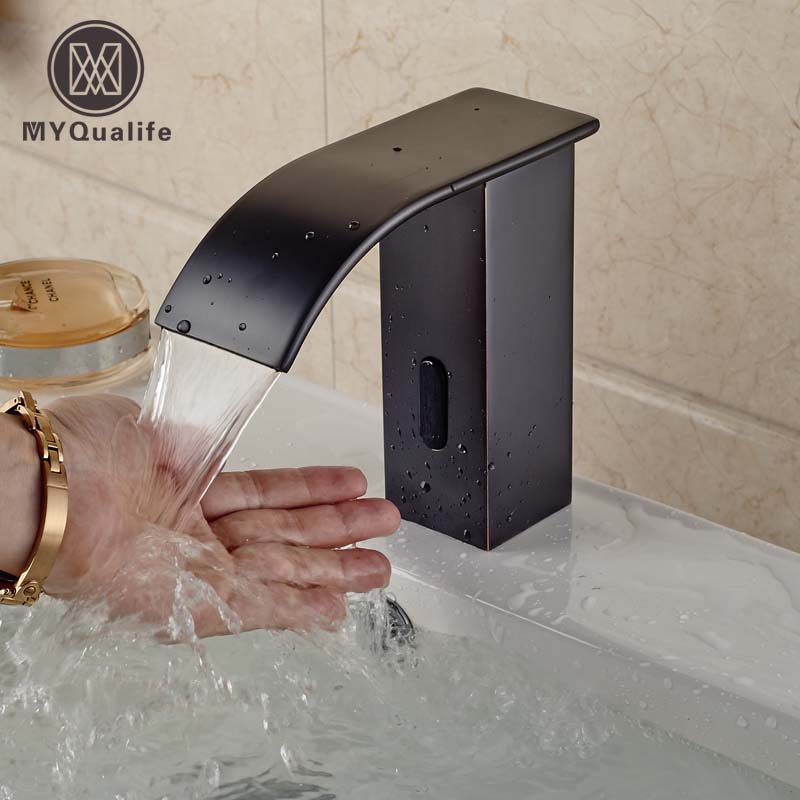 Oil Rubbed Bronze Brass Bathroom Waterfall Basin Faucet Sensor Induction Sink Water Tap Hands Free automatic touchless sensor waterfall bathroom sink vessel faucet oil rubbed bronze