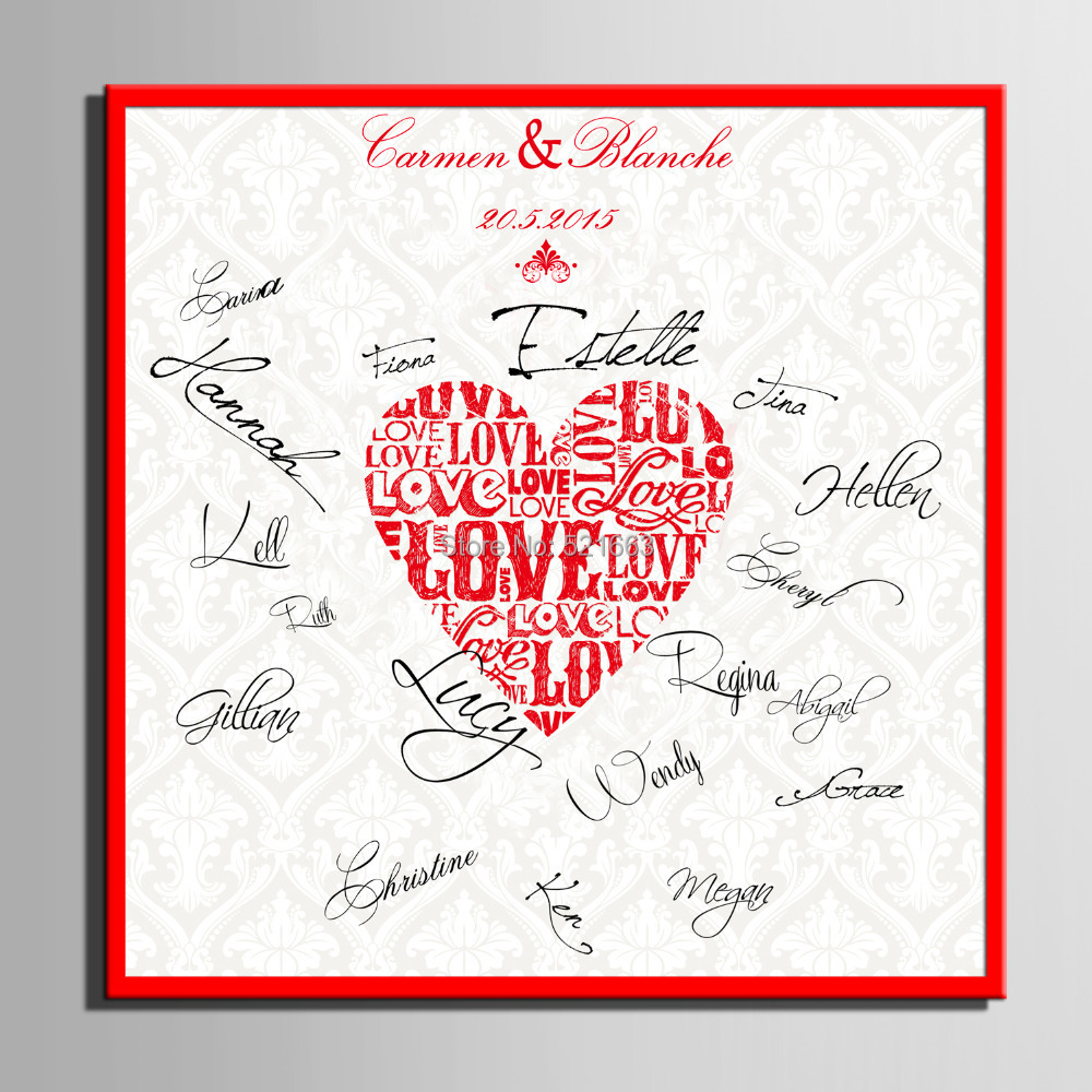 Wedding Guest Signature Ideas: Guest Signature DIY Party Gift Wedding Canvas Signing