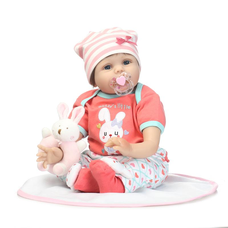 55cm New Soft Silicone Reborn Baby Doll  Lifelike Baby Girl Princess Doll With rabbit Toy for Child Birthday Gift new arrival 55cm blue eyes pink clothes lifelike baby soft girl doll with free plush toy as kids xmas gifts birthday doll toys