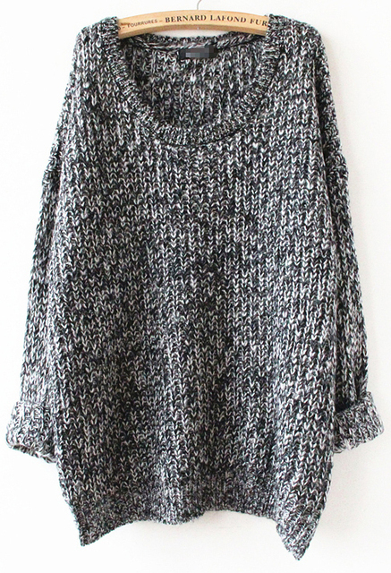 2016 New Fashion Winter knitted Designer Knitwear Women Clothing Plus Size Casual Grey Batwing Long Sleeve O-Neck Loose Sweater