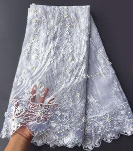 Image 2 - Nero Fucsia bella guipure delimitato Francese del merletto cucito tessuto di tulle maglia Africano del merletto con un sacco di perline 5 metri di buona la scelta