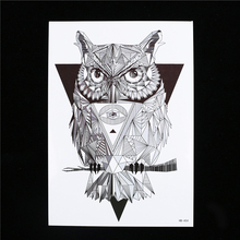 1pc Waterproof Temporary Tattoo For Women Men Geometry Owl Body Shoulder Arm Art Design HB454 Tattoo Sticker Sexy Products Decal