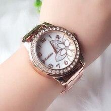 Relogio feminino Топ бренд Rose Gold Rhinestone Повседневное кварцевые часы Для женщин полный Сталь часы Роскошные дамы Часы Montres Femmes