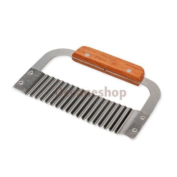 1 PC Hardwood Handle Crinkle Wax Vegetable Soap Cutter Wavy Slicer Stainless Steel Cake Tools