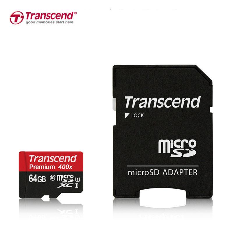 Prix pour Scellé réel transcend 64 gb c10 uhs-1 400x microsdhc microsdxc micro SD SDHC SDXC Carte 60 MB/S classe 10 UHS-1 Mémoire TF carte