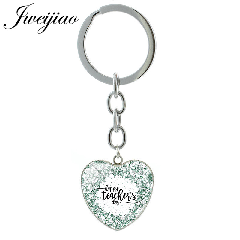 JWEIJIAO Heart Shape Pendant Best Super Teacher Key Chain Keychain & Keyrings Car Bag Charms Custom Teachers Day Gift FQ467
