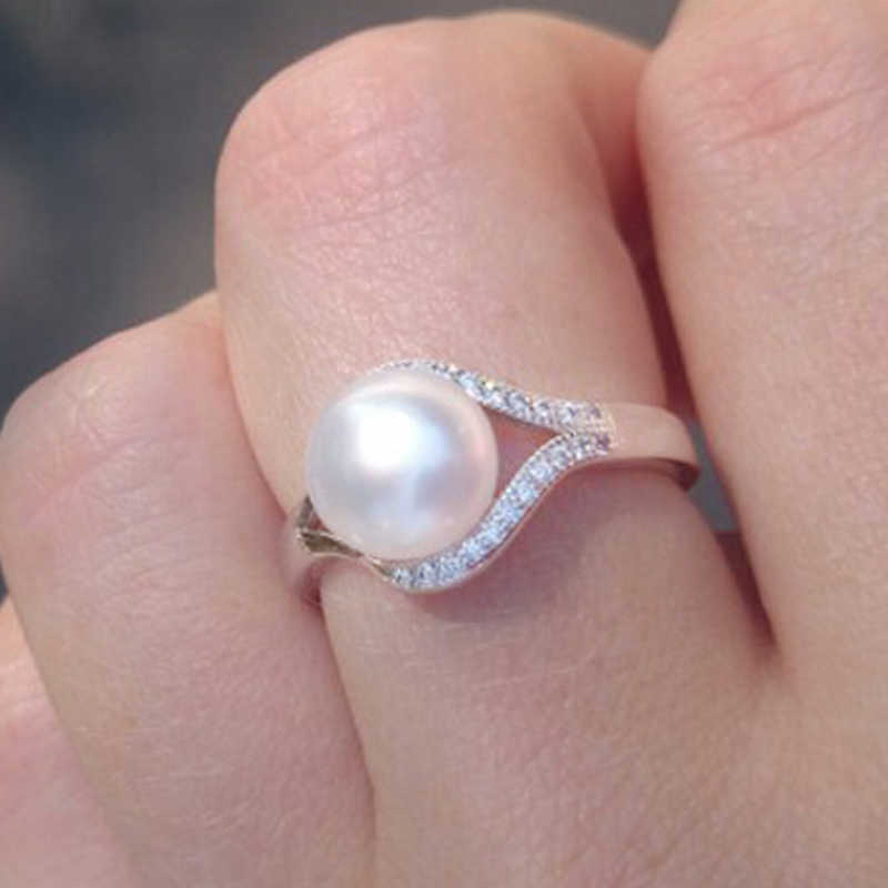 FENASY Bohemian 925 Sterling Silver Ring 2019 New Engagement Natural Pearl Rings For Women Freshwater Pearl Jewelry