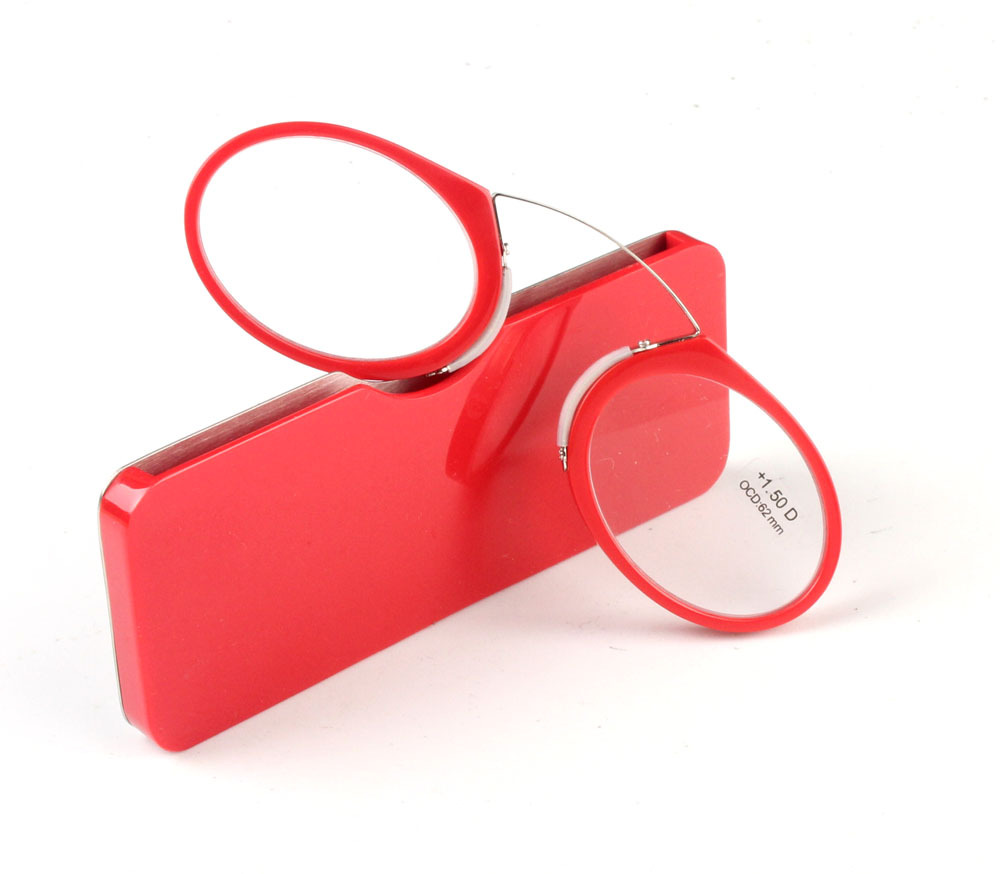 2018 Portable Clip nose presbyopic glasses Wallet Reading Glasses with Case mini presbyopic glasses 2 Color2 Red and Black