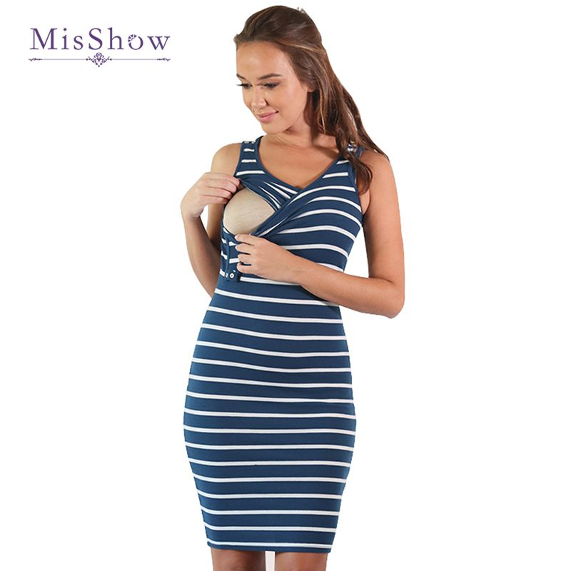 Plus Size Women Pregnancy Dresses Striped Knee Length Maternity Dress Nursing Breastfeeding Dress Summer Pregnancy Clothes