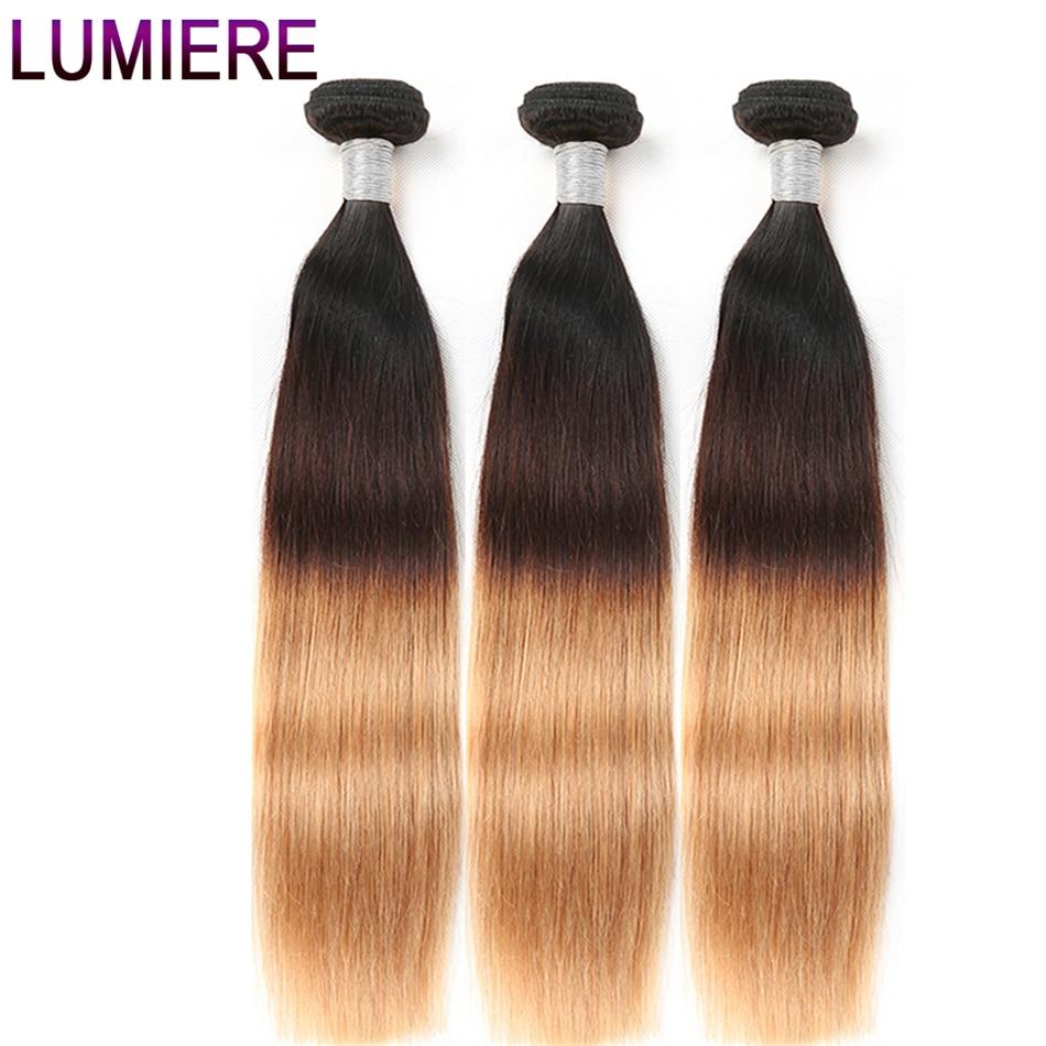 Lumiere Hair 3 Tone Ombre Straight Human Hair Bundles 3 Tone T1B 4 27 Non Remy