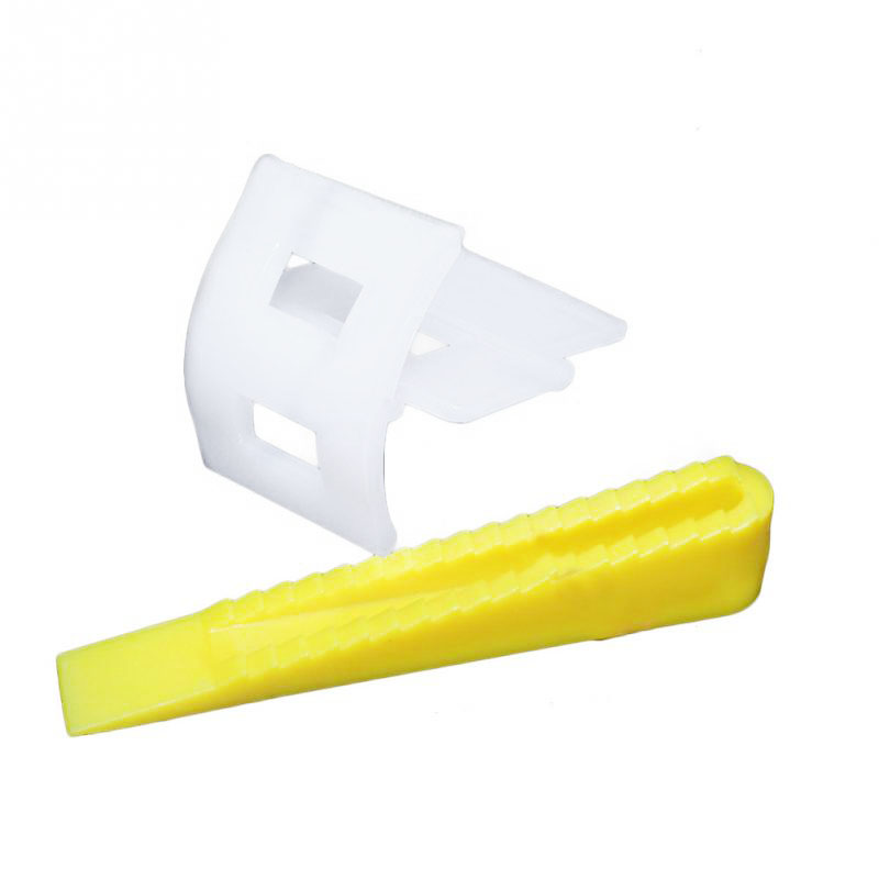 100/bag Tile Leveling System 50 Clips+50 Wedges Tile Leveler Spacers Ceramic Tile Positioning Frame Leveler Flattener 100x tile positioning tool base cap flooring horizontal system construction yellow